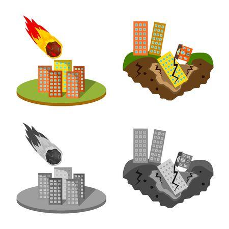 Vector illustration of weather and distress symbol. Set of weather and crash stock vector illustration. Ilustração