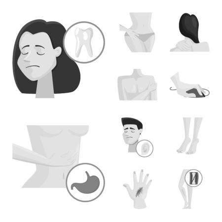 Vector design of suffering and injury . Set of suffering and damage vector icon for stock.