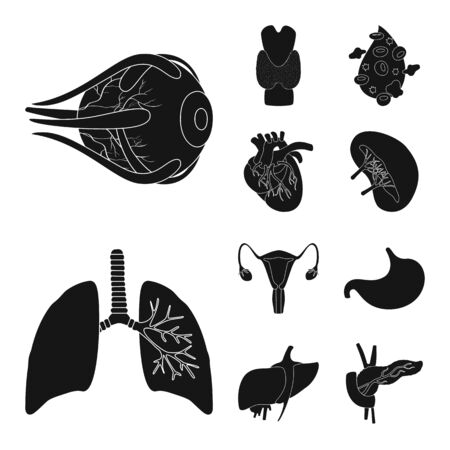 Isolated object of research and laboratory symbol. Collection of research and organ vector icon for stock.