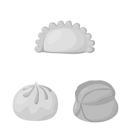 Isolated object of dumplings and stuffed sign. Set of dumplings and dish vector icon for stock. Illustration