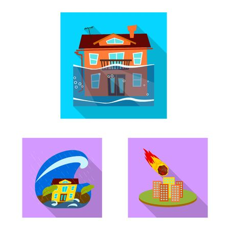 Vector design of collapse and environment . Collection of collapse and distress vector icon for stock. Stock Vector - 129325681