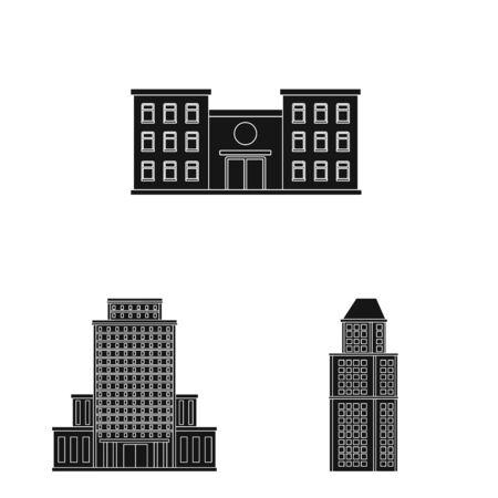 Vector illustration of modern and estate sign. Set of modern and building stock symbol for web.