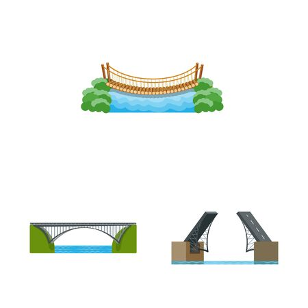 Vector illustration of bridgework and bridge symbol. Collection of bridgework and landmark vector icon for stock.