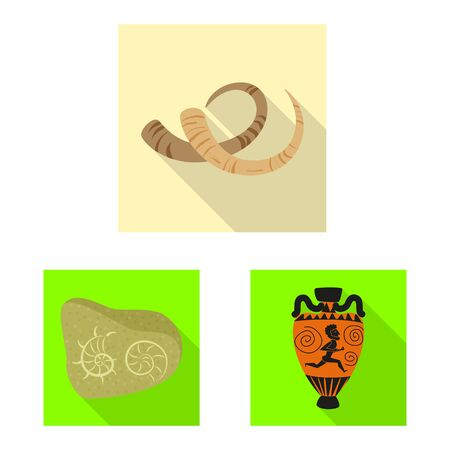 Vector illustration of story and items sign. Collection of story and attributes vector icon for stock. Standard-Bild - 129325814