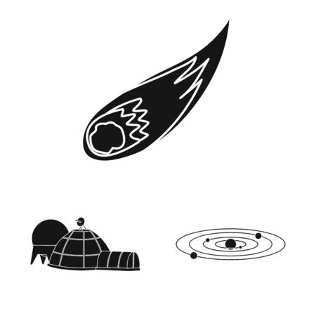 Isolated object of colonization and sky . Set of colonization and galaxy stock vector illustration.
