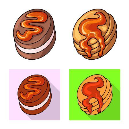 Vector design of confectionery and culinary . Collection of confectionery and product stock symbol for web. Illusztráció