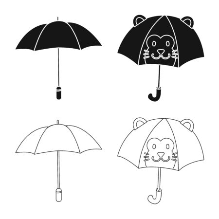 Ilustración de vector de protección e icono cerrado. Conjunto de protección e ilustración vectorial de stock lluvioso.