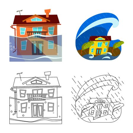 Vector illustration of weather and distress symbol. Collection of weather and crash vector icon for stock.