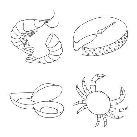Vector illustration of food and sea sign. Set of food and healthy vector icon for stock. Illustration