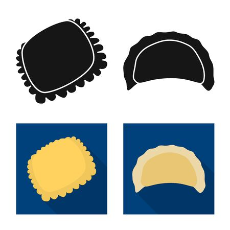 Vector design of products and cooking sign. Set of products and appetizer stock symbol for web.