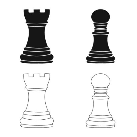 Vector design of checkmate and thin symbol. Collection of checkmate and target vector icon for stock. Illustration