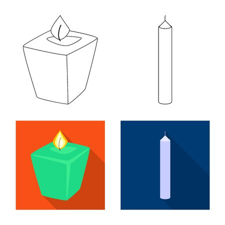 Vector illustration of relaxation and flame sign. Collection of relaxation and wax vector icon for stock.