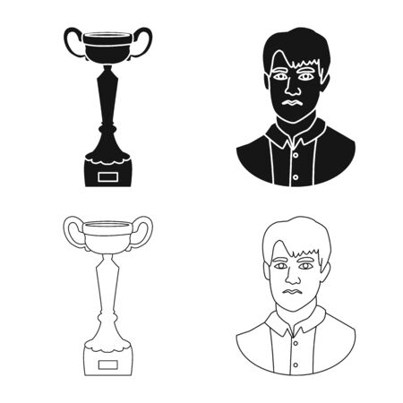 Vector illustration of checkmate and thin icon. Collection of checkmate and target stock symbol for web. Ilustrace
