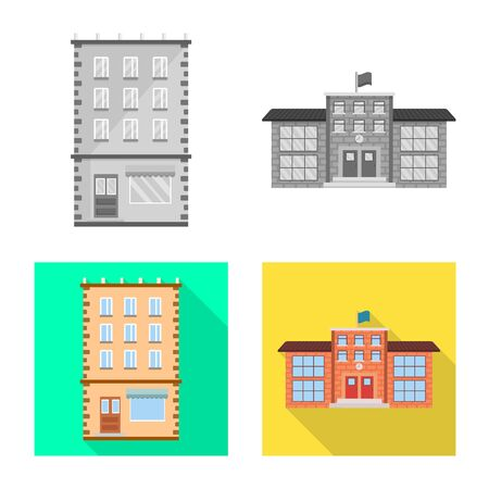Vector illustration of municipal and center . Collection of municipal and estate stock vector illustration.