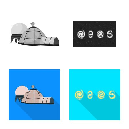 Vector design of astronomy and technology icon. Set of astronomy and sky vector icon for stock.