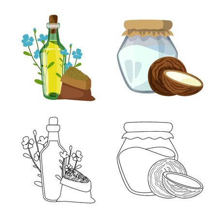 Vector illustration of healthy and vegetable sign. Set of healthy and agriculture vector icon for stock. Иллюстрация