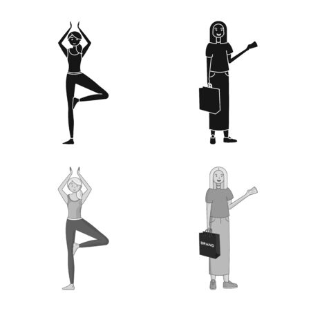 Vector design of posture and mood symbol. Collection of posture and female stock vector illustration.