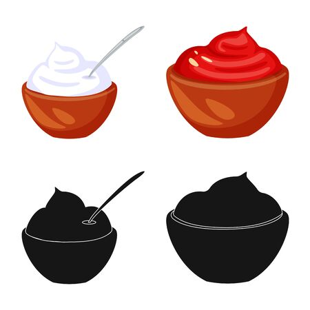 Vector illustration of taste and product sign. Collection of taste and cooking stock symbol for web.