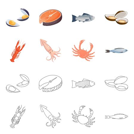 Isolated object of fresh and restaurant symbol. Collection of fresh and marine stock symbol for web. Ilustração