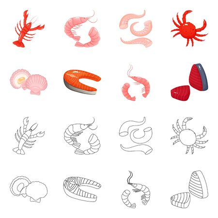 Vector design of fresh and restaurant symbol. Set of fresh and marine vector icon for stock.