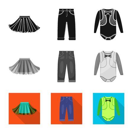 Vector illustration of fashion and garment . Collection of fashion and cotton stock vector illustration. Foto de archivo - 129327148