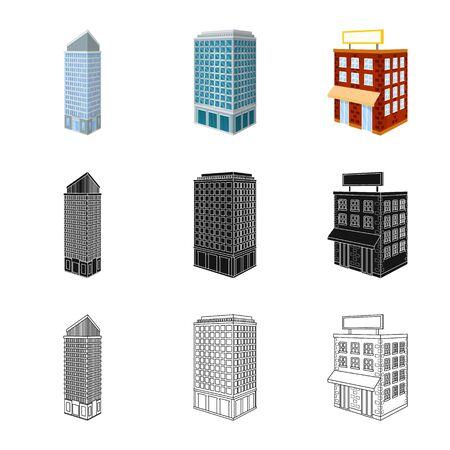 Vector design of construction and building sign. Set of construction and estate stock symbol for web. Ilustração