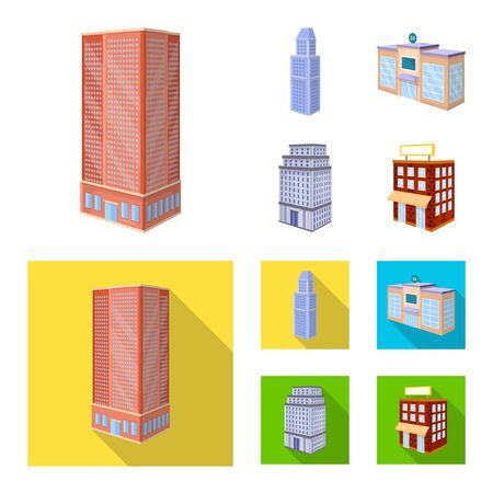 Vector illustration of construction and building icon. Set of construction and estate stock symbol for web.
