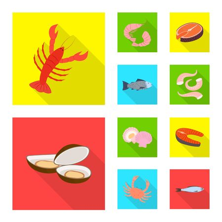 Vector design of product and ocean symbol. Collection of product and restaurant vector icon for stock.