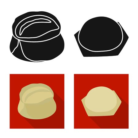 Vector illustration of products and cooking . Set of products and appetizer vector icon for stock.