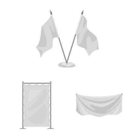 Vector design of promotional and textile sign. Collection of promotional and white stock vector illustration. Ilustração
