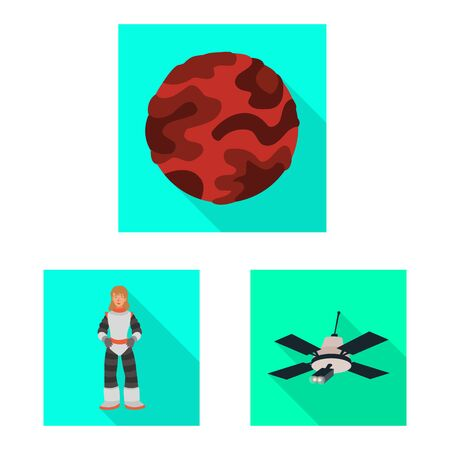 Vector illustration of science and cosmic . Set of science and technology vector icon for stock.