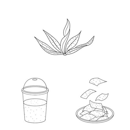 Vector illustration of food and vegan icon. Collection of food and weed stock symbol for web. Illustration
