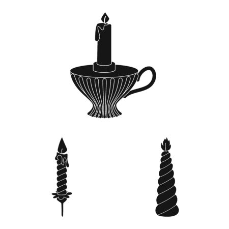 Vector illustration of candlelight and decoration icon. Collection of candlelight and wax stock vector illustration. Иллюстрация
