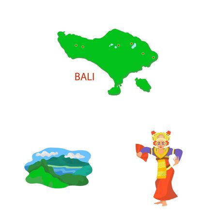 Vector design of bali and indonesia icon. Set of bali and caribbean stock symbol for web.