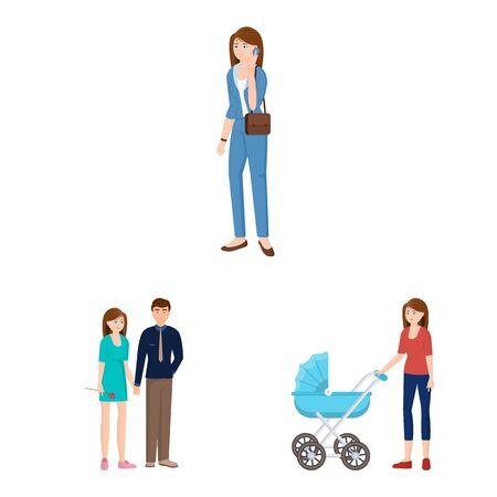 Oggetto isolato del segno di famiglia e persone. Insieme di simbolo di borsa famiglia e avatar per il web.