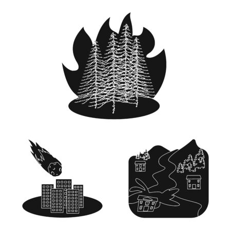 Vector design of calamity and crash sign. Collection of calamity and disaster stock vector illustration. Illustration