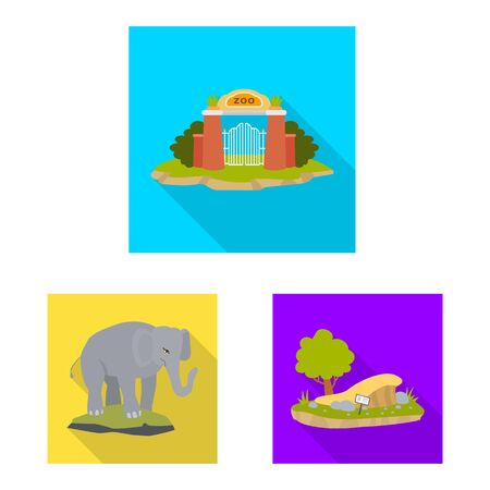 Vector design of safari and animal . Set of safari and fun stock symbol for web.