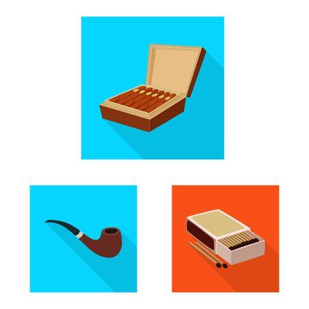 Isolated object of smoke and statistics symbol. Collection of smoke and stop stock symbol for web. Иллюстрация