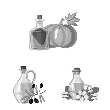 Vector design of nutrition and organics icon. Set of nutrition and glass stock symbol for web. Ilustracja