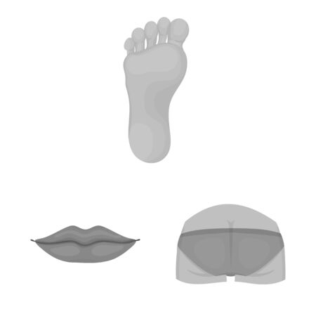 Isolated object of body and part . Collection of body and anatomy vector icon for stock.