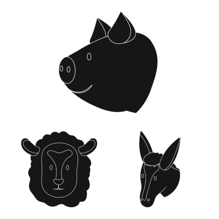 Vector design of ranch and organic icon. Set of ranch and head stock vector illustration. Çizim