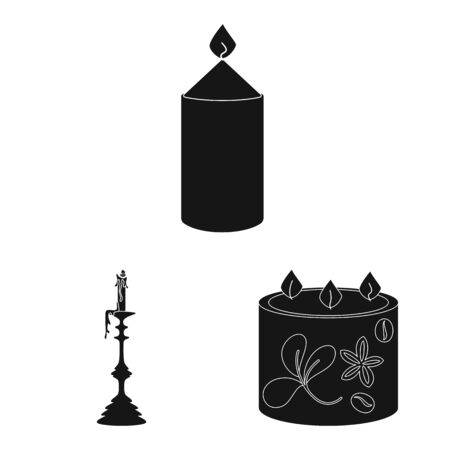 Isolated object of candlelight and decoration icon. Collection of candlelight and wax stock vector illustration. Ilustracja
