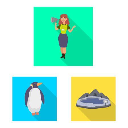 Vector illustration of safari and animal sign. Set of safari and fun stock symbol for web.