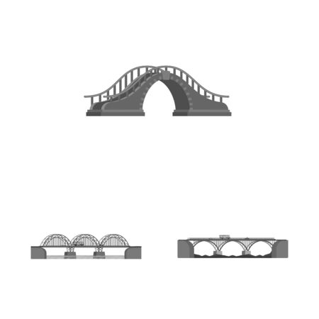 Isolated object of design and construct sign. Set of design and bridge vector icon for stock. Stock Illustratie