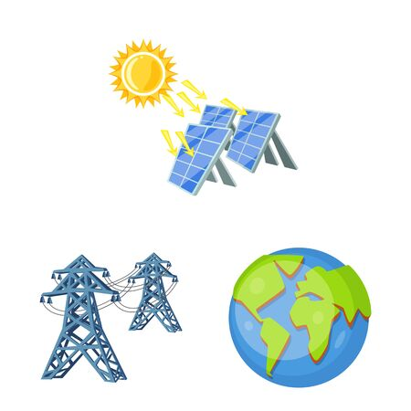 Vector illustration of and organic . Collection of and Solar vector icon for stock.