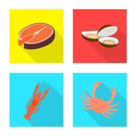Isolated object of product and ocean icon. Collection of product and restaurant stock vector illustration. Ilustração