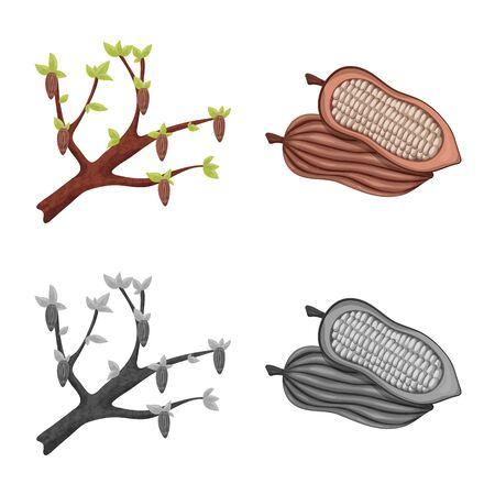 Vector illustration of food and yummy symbol. Set of food and brown stock vector illustration. Standard-Bild - 129328580