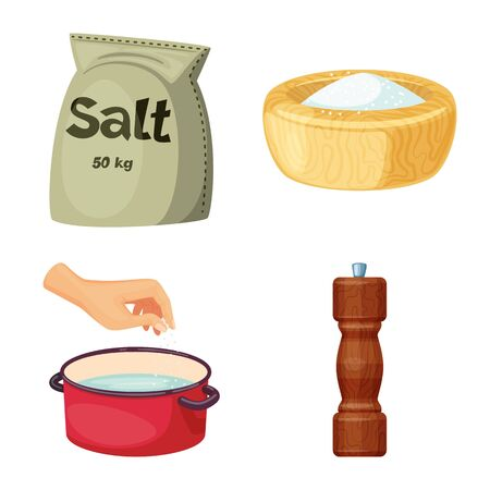 Vector design of salt and food symbol. Collection of salt and mineral vector icon for stock.