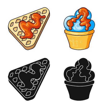Vector illustration of confectionery and culinary. Collection of confectionery and product stock symbol for web.