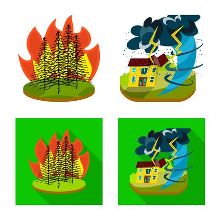 Isolated object of weather and distress sign. Collection of weather and crash vector icon for stock. Ilustracja
